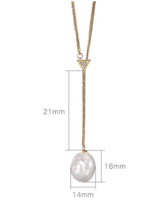 DEER 925 Sterling Silver Freshwater Pearl Irregular Vintage Lariat Necklace 4