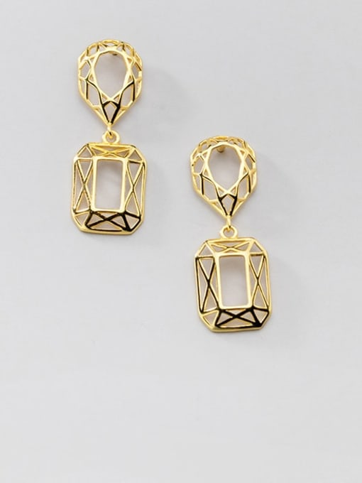 Rosh 925 Sterling Silver Hollow Geometric Vintage Drop Earring