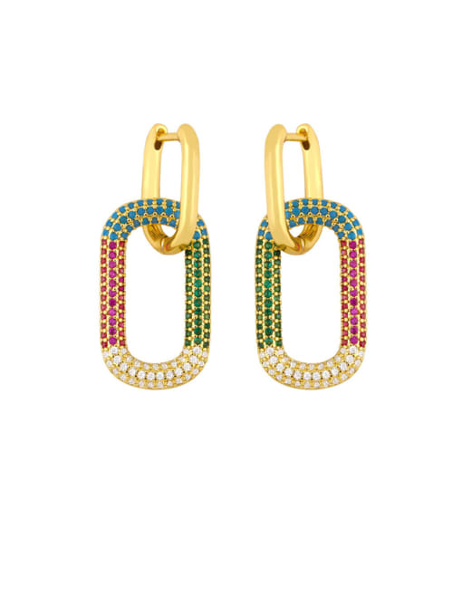 colour Brass Rhinestone Geometric Vintage Drop Earring