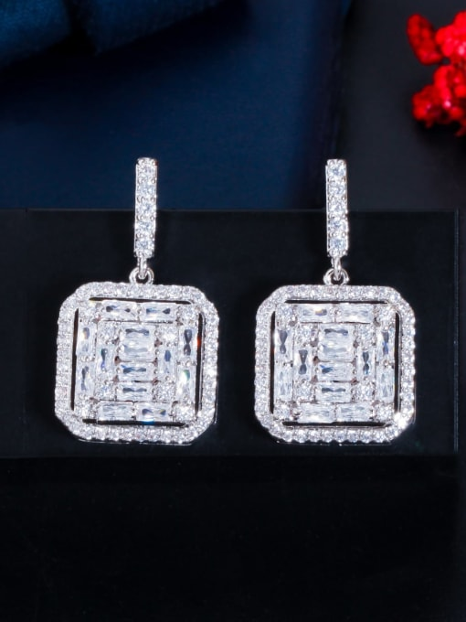 Platinum Brass Cubic Zirconia Geometric Luxury Drop Earring