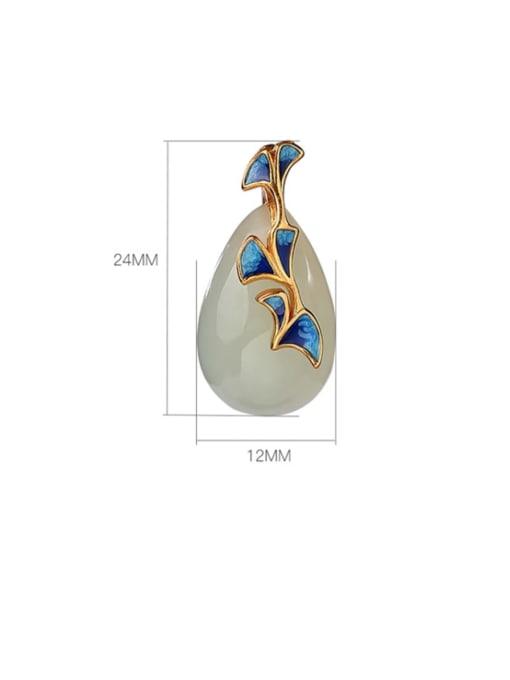 DEER 925 Sterling Silver Jade Water Drop   Enamel Vintage Pendant 2