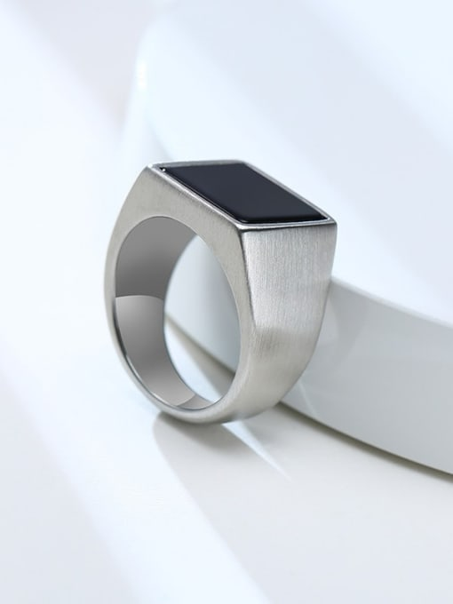 CONG Stainless steel Acrylic Geometric Vintage Band Ring 4