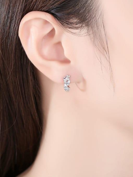 CCUI 925 Sterling Silver Cubic Zirconia Geometric Trend Huggie Earring 1