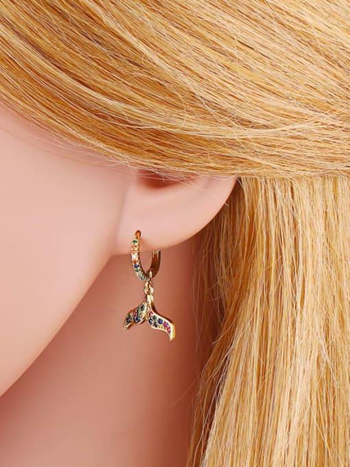 CC Brass Cubic Zirconia Fish tail fish bone Hip Hop Huggie Earring 4