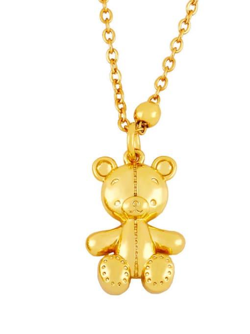 B Brass Cute Smooth Bear  Pendant Necklace