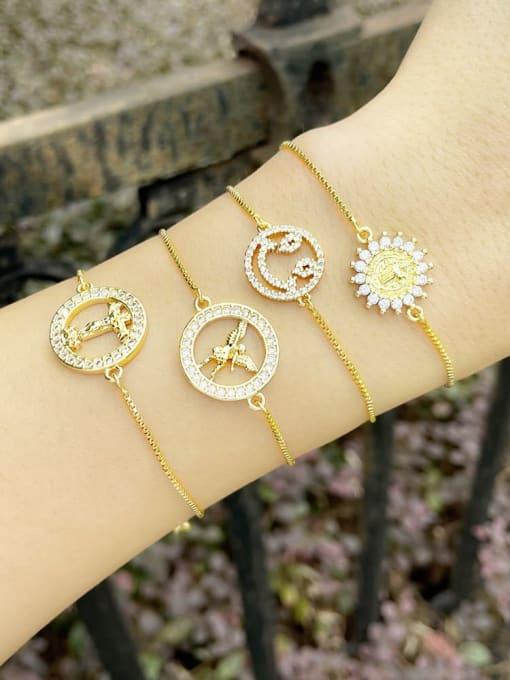 CC Brass Cubic Zirconia Religious Vintage Link Bracelet 1