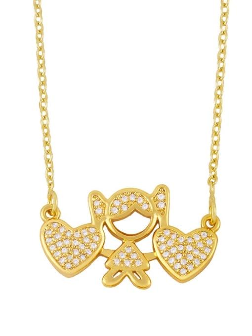 girl Brass Cubic Zirconia Angel Hip Hop Necklace