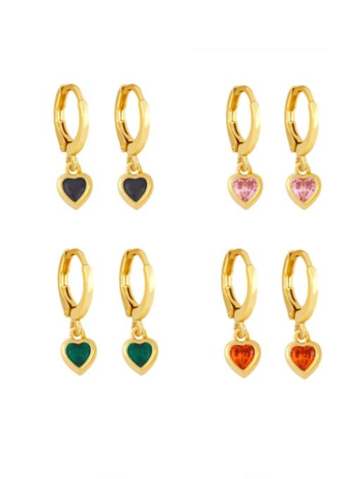 CC Brass Cubic Zirconia Heart Minimalist Huggie Earring