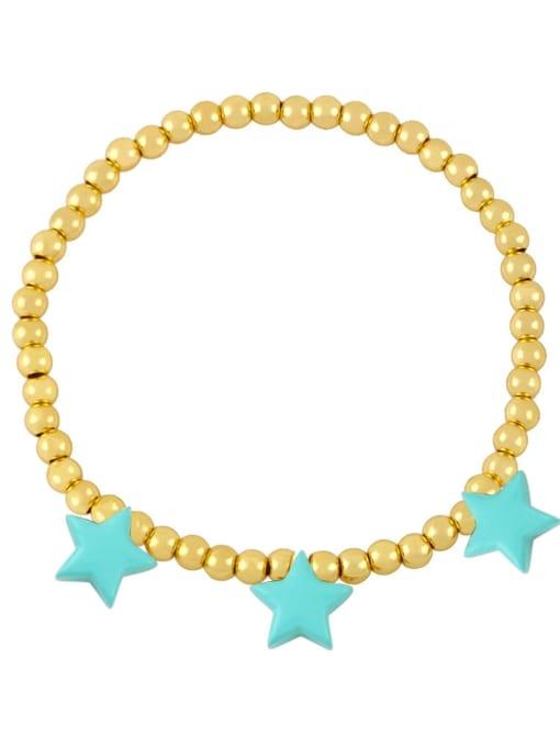 green Brass Enamel Star Vintage Beaded Bracelet