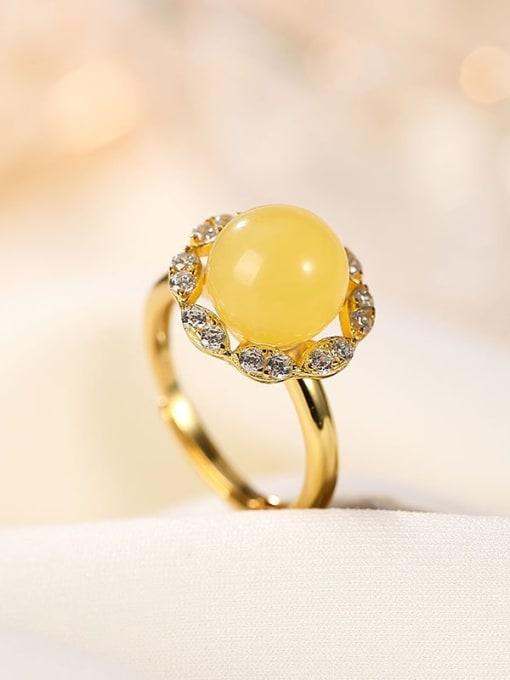 DEER 925 Sterling Silver Amber Flower Cute Band Ring 2