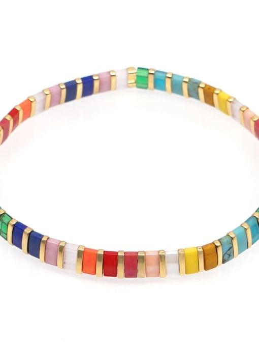 TL B190091B Stainless steel Multi Color Polymer Clay Letter Bohemia Handmade Weave Bracelet