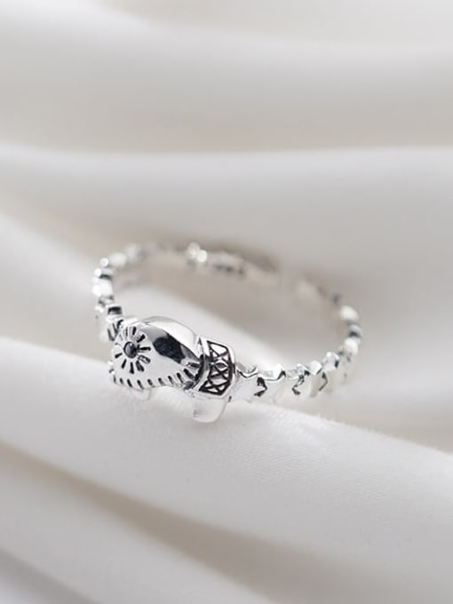 Rosh 925 sterling silver elephant cute free size ring 1