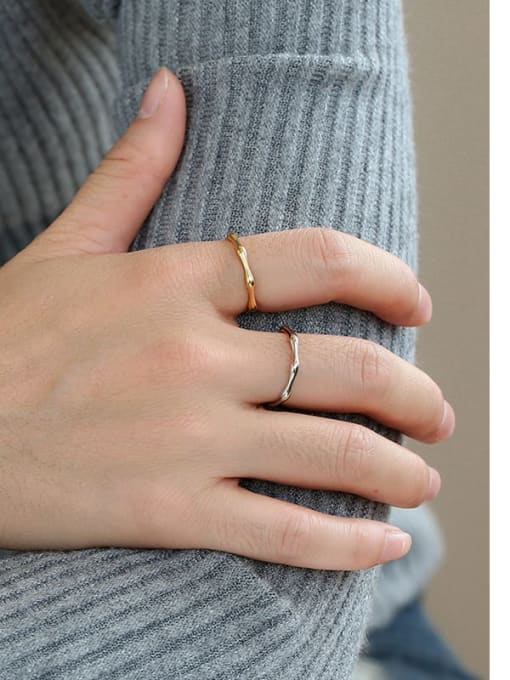 CHARME Brass Smooth Geometric Statement Band Ring 2