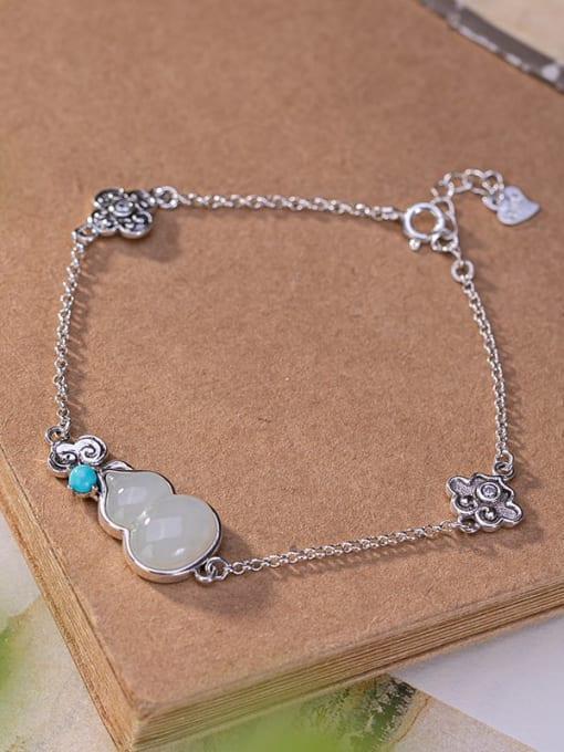DEER 925 Sterling Silver Jade Irregular Vintage Bracelet 2