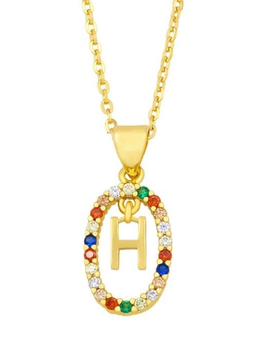 H Brass Cubic Zirconia Letter Vintage Oval Pendant Necklace
