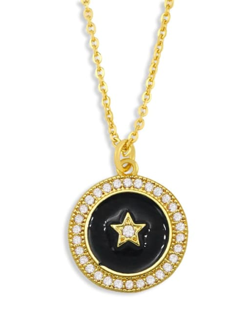 black Brass Cubic Zirconia Enamel Star Ethnic Necklace