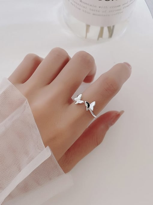 Rosh 925 Sterling Silver  Smooth  Butterfly Minimalist Band Ring 1