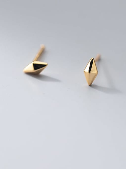 gold 925 Sterling Silver Geometric Minimalist Stud Earring
