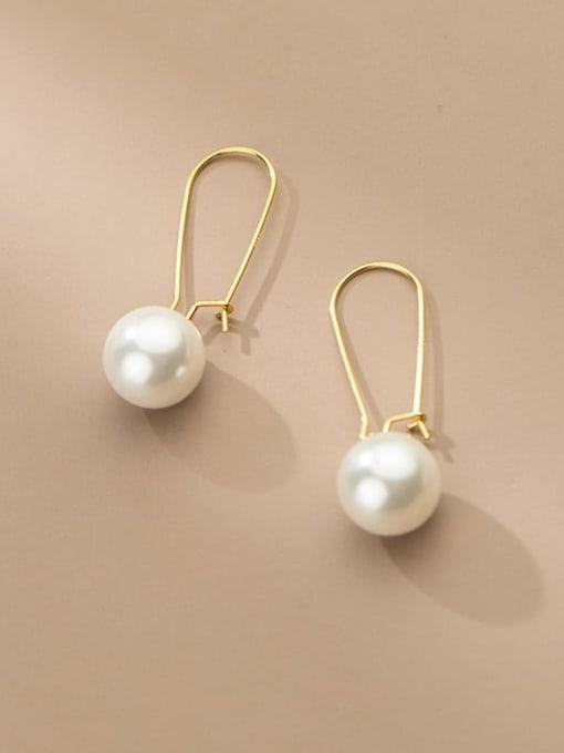 Rosh 925 Sterling Silver Imitation Pearl Geometric Minimalist Hook Earring 2