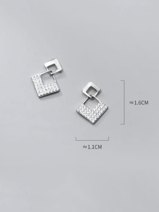 Rosh 925 Sterling Silver Cubic Zirconia Geometric Minimalist Drop Earring 2
