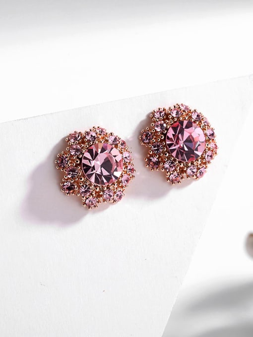 Pink water drill Brass Cubic Zirconia Flower Vintage Stud Earring