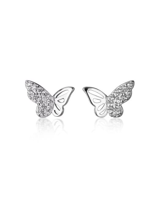 Rosh 925 Sterling Silver Cubic Zirconia Butterfly Minimalist Stud Earring 4