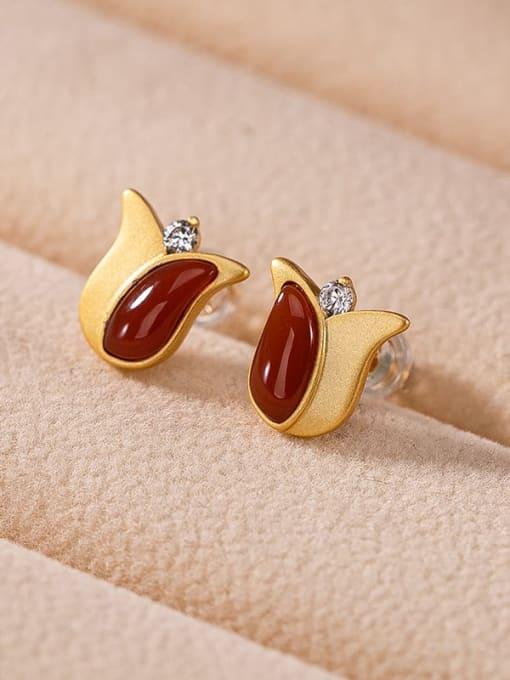 DEER 925 Sterling Silver Carnelian Flower Vintage Stud Earring 0