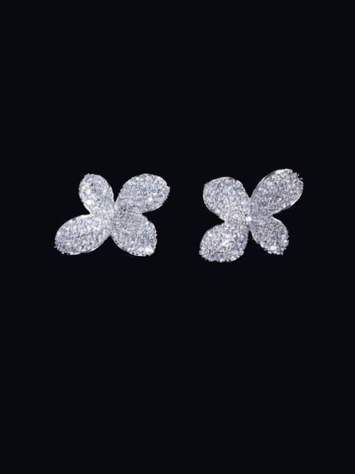 platinum Brass Cubic Zirconia Flower Luxury Stud Earring