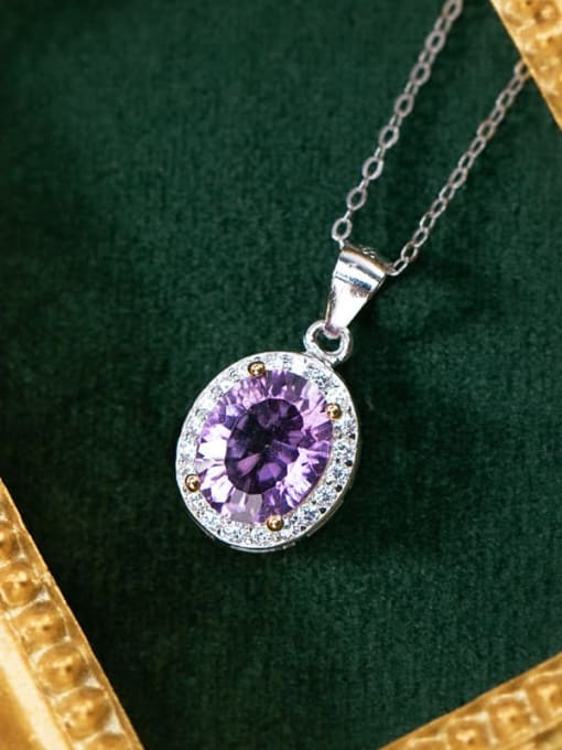 Pendant oval (without chain) 925 Sterling Silver Amethyst Dainty  Heart Pendant