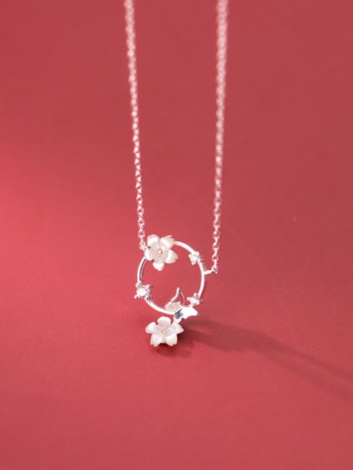 Rosh 925 Sterling Silver Shell Flower Minimalist Necklace 2