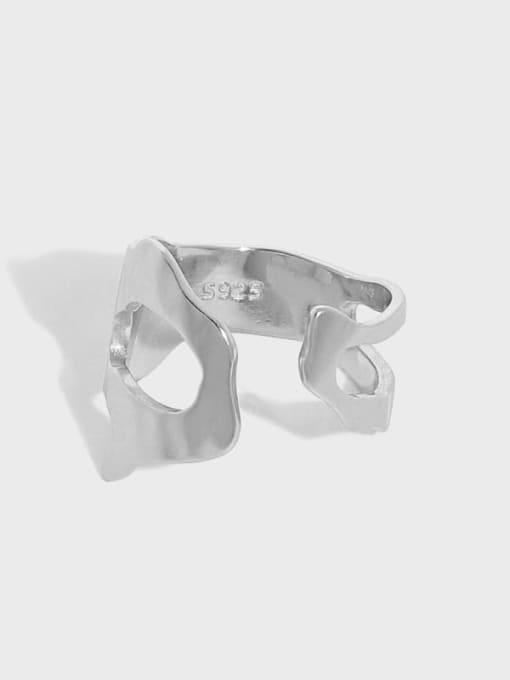 DAKA 925 Sterling Silver Hollow Irregular Vintage Band Ring 3