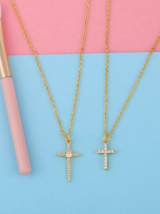 CC Copper Cubic Zirconia Cross Vintage Regligious Necklace 4