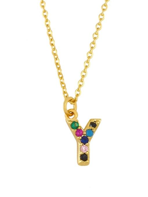 Y Brass Cubic Zirconia Letter Vintage Necklace