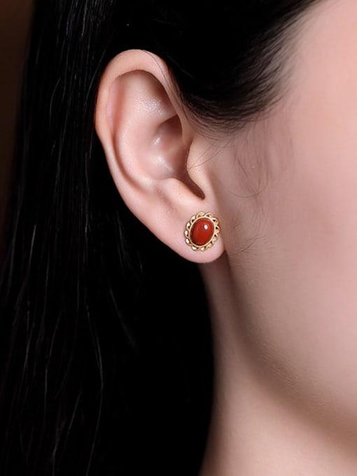 DEER 925 Sterling Silver Carnelian Flower Vintage Stud Earring 1