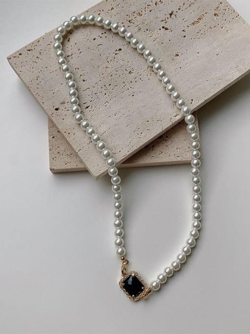 Pearl Black Diamond Necklace Brass Imitation Pearl Geometric Hip Hop Necklace