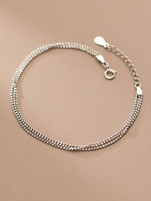 Rosh 925 Sterling Silver Bead Irregular Minimalist Strand Bracelet 1