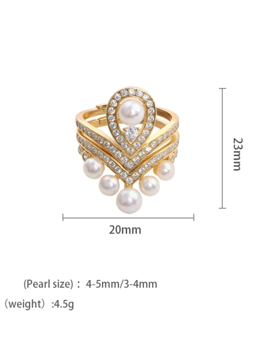Golden pearls Brass Freshwater Pearl Geometric Vintage Stackable Ring