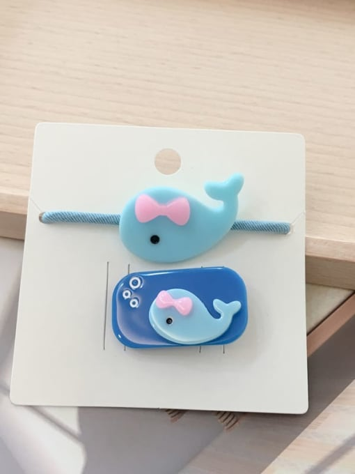 12 little whales Alloy Acrylic Cute Children cartoon animal fruit Hairpin Rubber band Set