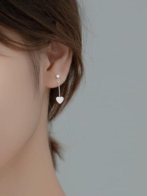 Rosh 925 Sterling Silver Smooth Heart Minimalist Threader Earring 1