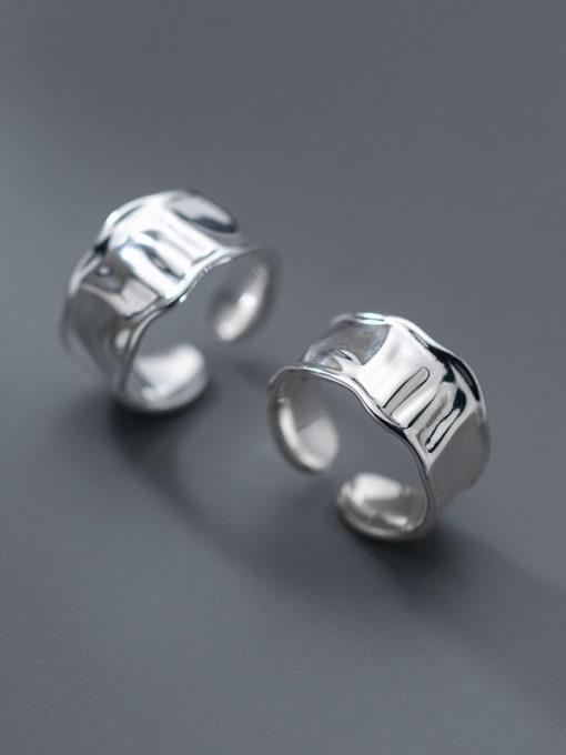 Rosh 925 Sterling Silver Geometric Minimalist Band Ring 4
