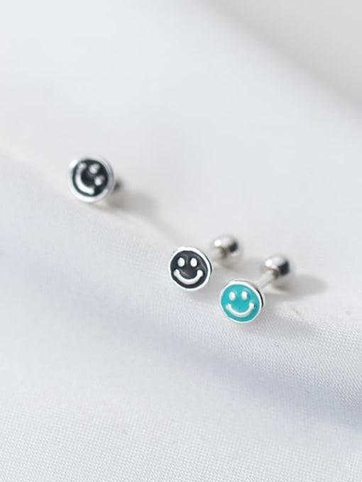 Rosh 925 Sterling Silver Enamel Smiley Minimalist Stud Earring