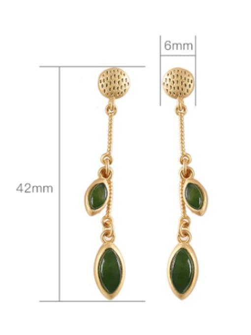 DEER 925 Sterling Silver Jade Geometric Ethnic Drop Earring 2