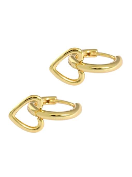golden 925 Sterling Silver Smooth Heart Minimalist Huggie Earring