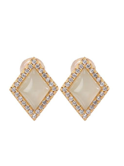 DEER 925 Sterling Silver Jade Geometric Vintage Stud Earring 3