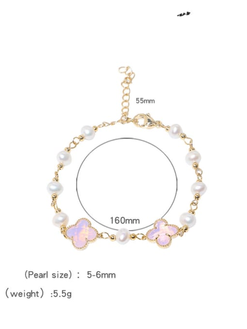 Freshwater pearl bracelet Brass Glass Stone Clover Minimalist Bracelet
