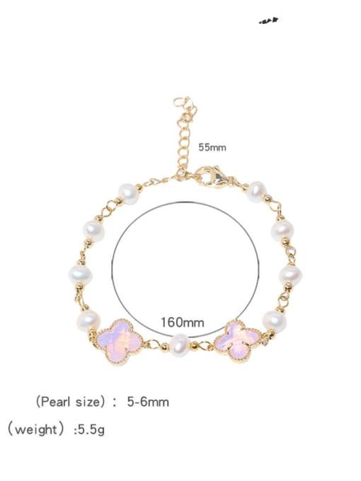 RAIN Brass Glass Stone Clover Minimalist Bracelet 3