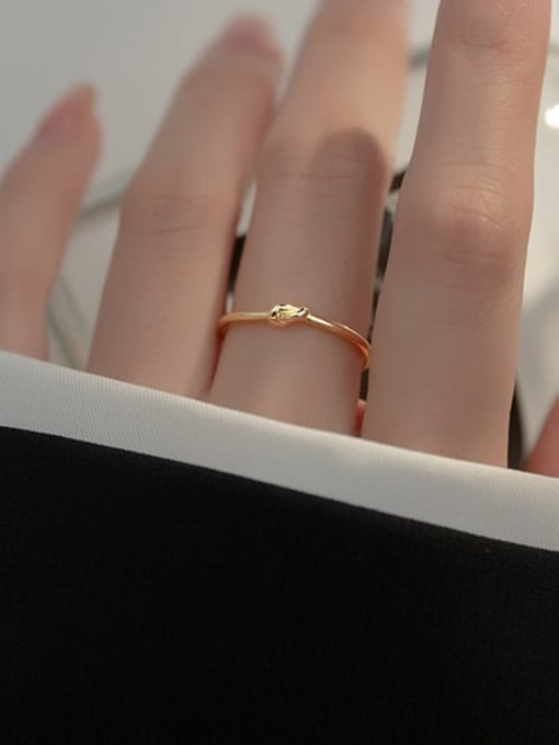 Rosh 925 Sterling Silver Bowknot Minimalist Band Ring 2