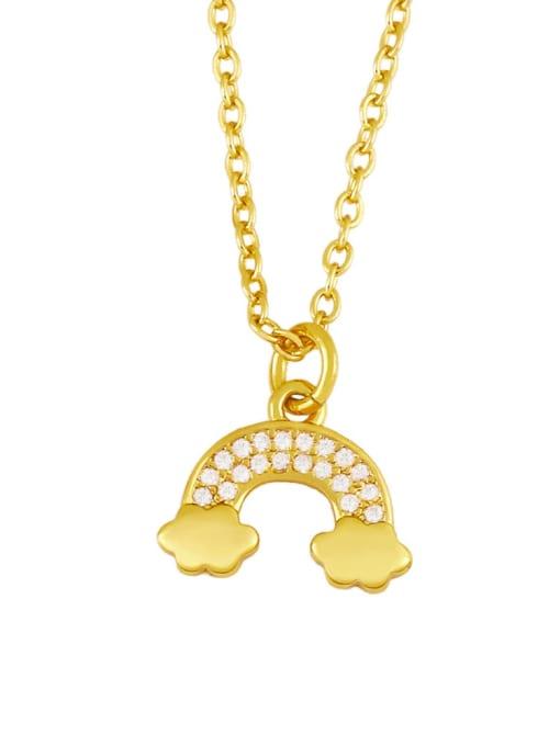 CC Brass Cubic Zirconia  Vintage Rainbow Pendant Necklace 2