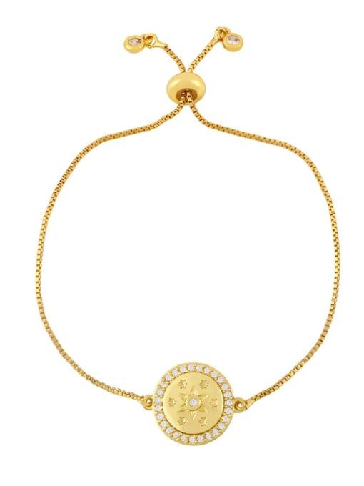 B Brass Cubic Zirconia Geometric Hip Hop Adjustable Bracelet