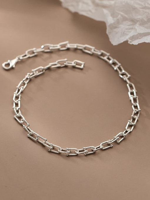 Rosh 925 Sterling Silver  Minimalist Hollow Chain  Anklet